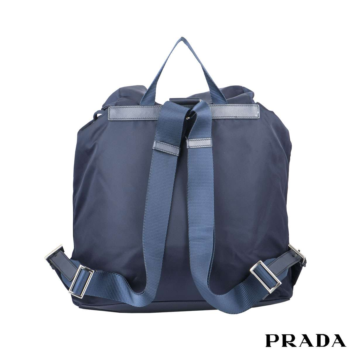 Prada Blue Nylon And Saffiano Leather Backpack